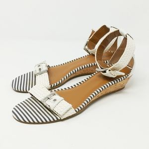 Sperry Lynnbrook Blue White Stripe Wedge Sandals